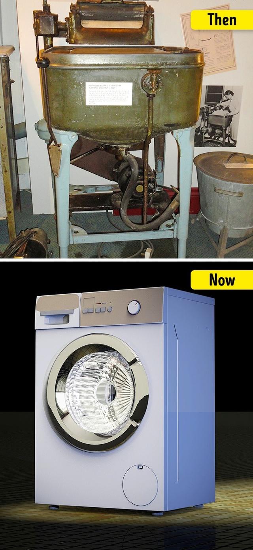 Máy giặt ngày trước phải được vận hành bằng sức người hoặc sức động vật kéo.