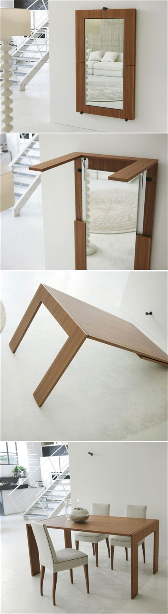 5. Một chiếc gương treo trên tường bỗng hô biến thành một chiếc bàn ăn tiện lợi. Một thiết kế đa năng sáng tạo và đẹp mắt.     6. Một chiếc giường ngủ dành cho khách là quá khả năng cho một ngôi nhà có diện tích nhỏ. Nhưng nếu bạn có nhiều bạn bè thường xuyên qua đêm tại nhà mình thì thiết kế bàn uống nước kiêm giường ngủ đơn này là một giải pháp hiệu quả.      7. Chiếc bàn đa năng này có khả năng biến hóa đa dạng, từ một bàn ngồi máy may, đến đựng đồ, rồi gấp đôi lại thì biến thành một bàn ngồi chơi trò chơi giải trí như ghép hình, cá ngựa, hoặc bạn có thể giải quyết bữa ăn sáng của mình ngay tại đây luôn.      8. Một chiếc tủ lạnh được gắn thêm một thanh kéo bằng gỗ với chiều rộng hẹp nhưng lại giúp chủ nhà tận dụng được diện tích và sắp xếp rất nhiều bánh kẹo và đồ ăn phía trong.   Theo Afamily/Apartment