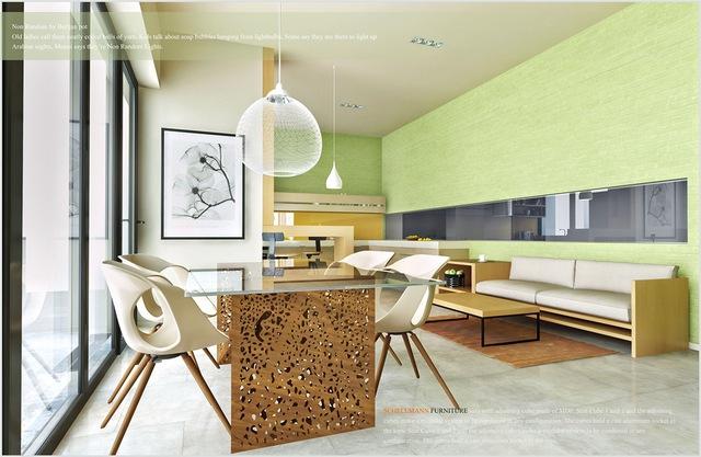 8. Thiết kế này sử dụng màu sắc vô cùng táo bạo, màu xanh lá cây không phải là sự lựa chọn phổ biến cho các phòng ăn. Nhưng với cách chọn vật liệu hợp lý, màu gỗ ấm áp tạo ra nét tương phản nổi bật giúp hoàn thành không gian ăn uống thoải mái.