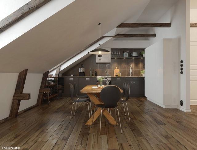 10. Thiết kế này nằm bên dưới 1 mái vòm ấn tượng, nhà bếp và phòng ăn kết hợp mang lại sự ấm cúng với màu tối và kết cấu phong phú.