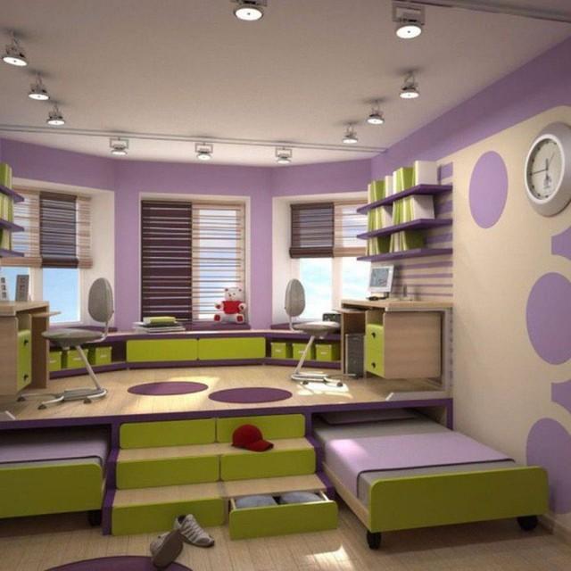 Khu vực giật cấp có thể được chọn làm nơi nghỉ ngơi, có thể chọn làm khu vực vui chơi, học tập nếu được thiết kế cạnh cửa sổ, giúp con của bạn có thể thoải mái sử dụng không gian trong phòng ngập tràn ánh sáng tự nhiên.