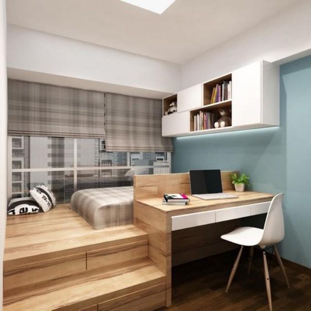 Phần sàn giật cấp có thể sử dụng để tạo góc nghỉ ngơi, phía dưới được quy hoạch để tạo góc học tập và nơi đựng đồ, diện tích căn phòng dù nhỏ cũng không còn là vấn đề quan trọng.