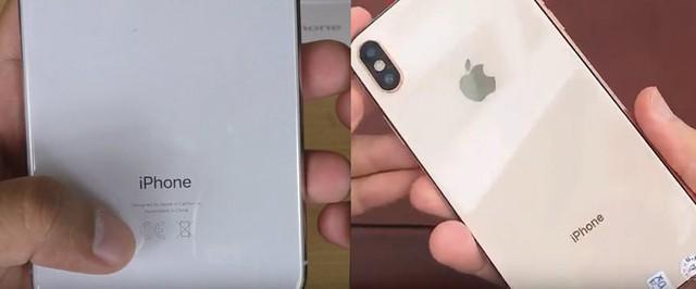 Mặt lưng iPhone nhái (bên phải) không có đầy đủ thông tin như iPhone thật (bên trái)