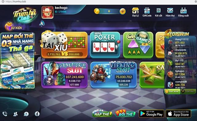 Một website quảng cáo game bài. (ảnh HC)