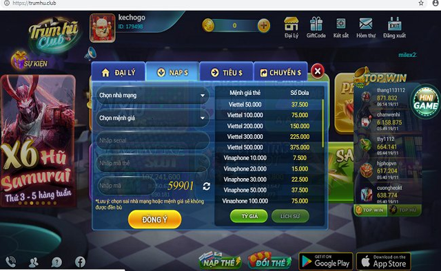 Việc quy đổi từ thẻ cào ra tiền ảo trên game. (ảnh HC, chụp từ màn hình)