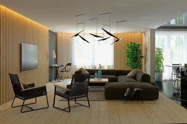 Phòng khách là khu vực không thể thiếu được những món đồ được làm từ chất liệu gỗ.