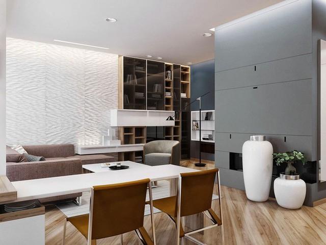 Kiểu sàn nhà với những đường vân gỗ đậm nhạt mang đến sự sinh động, cá tính cho không gian phòng khách.