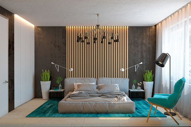 Bên cạnh việc lựa chọn chất liệu gỗ làm tủ quần áo, giường ngủ, thì gỗ còn được sử dụng một cách tinh tế để trang trí cho căn phòng thêm cuốn hút.