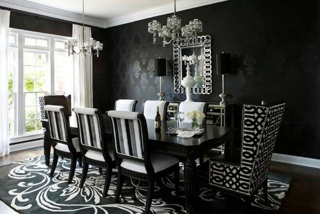 Không gian phòng ăn đầy ấn tượng với gam màu đen là chủ yếu.