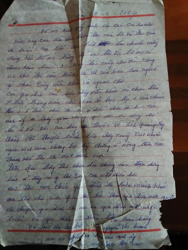 Lá thư từ Trung Quốc gửi về của chị Hạnh cho biết việc mình bị lừa bán.