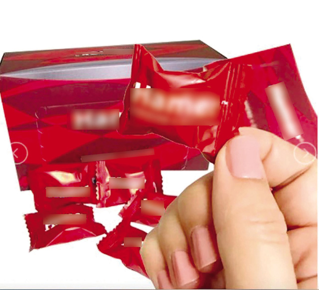 Một loại kẹo sâm được quảng cáo là có công dụng đặc biệt trong tăng cường sinh lực nam giới. Ảnh: TL