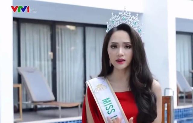 Hương Giang trong đoạn clip phỏng vấn cho Đài truyền hình Việt Nam.
