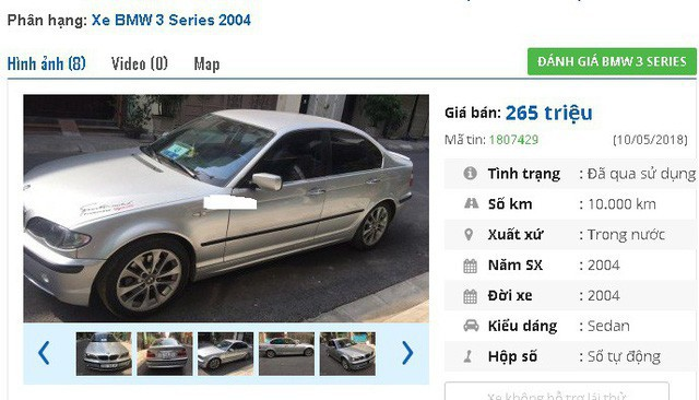 Xe gia đình, do không có nhu cầu sử dụng nên cần bán 1 chiếc xe BMW 325i, bản đủ, đời cuối 2004, đăng ký lần đầu năm 2005 với giá 265 triệu đồng.