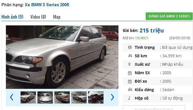 """Với 215 triệu đồng, bạn có thể tham khảo mẫu BMW 3 Series 318i AT đời 2005, nhập khẩu. Theo giới thiệu của người bán, thì """"xe đẹp full đồ chơi 6 CD, túi khí an toàn, ABS, EPS, rèm che tự động, lazang đúc, đèn sương mù, ghế da xịn nguyên bản, điều hòa tự động, gương kính chỉnh điện tự động...""""."""
