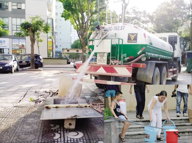 Vào cao điểm nắng nóng sẽ có nhiều nơi phải dùng xe stec cung cấp nước .   Ảnh:H.P. Hà Nội thiếu nước sạch khoảng 24.000m3/ngày đêm (ảnh nhỏ) .