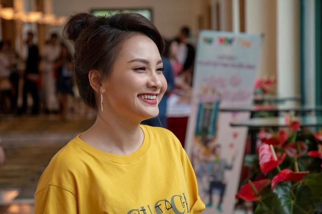 Bảo Thanh trong sự kiện ra mắt phim truyền hình ngày 28/5 tại Hà Nội. Ảnh: VFC.