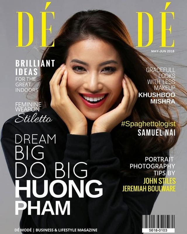Phạm Hương trên tạp chí được quảng bá ấn phẩm danh tiếng của Pháp.