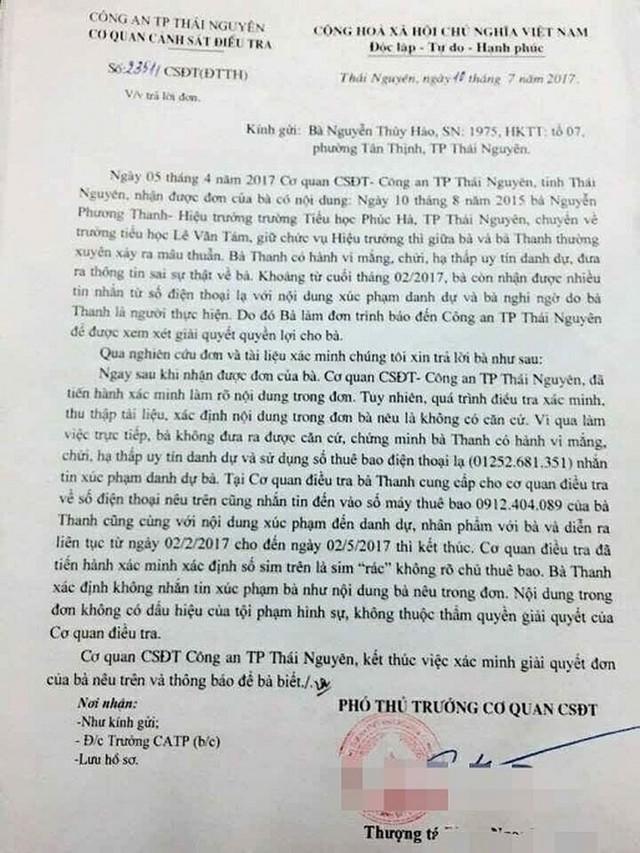 Công an TP. Thái Nguyên, tỉnh Thái Nguyên có văn bản trả lời cho thấy nội dung đơn trình báo của bà Nguyễn Thúy Hảo là không có căn cứ. (ảnh: TG)