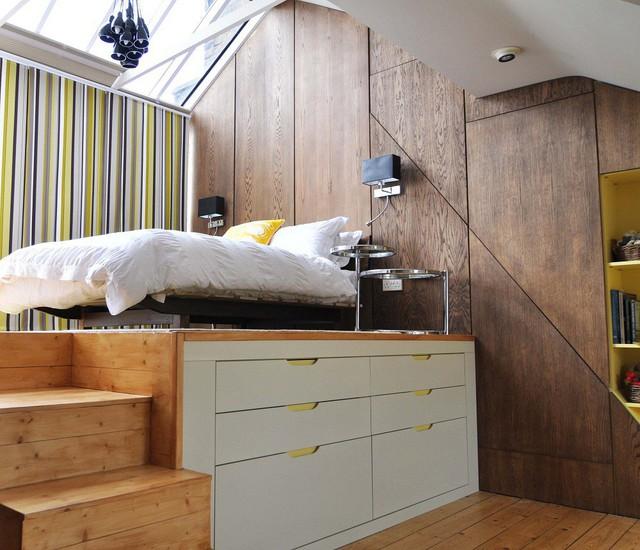 7. Để tăng không gian lưu trữ, những kiểu giường với nhiều tầng tủ lưu trữ cũng đang gây được chú ý.