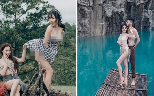 Bộ ảnh gây tranh cãi của Á hậu Thư Dung tại Tuyệt Tình Cốc, Đà Lạt.