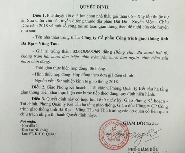 Quyết định phê duyệt kết quả lựa chọn nhà thầu đối với gói thầu 06- Xây lắp của Sở GTVT tỉnh Bà Rịa - Vũng Tàu.