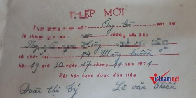 Thiệp mời dự tiệc cưới vào năm 1971.