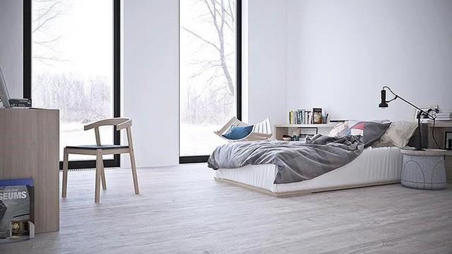 Khung cửa sổ màu đen trái ngược với phòng ngủ trắng. Màu gỗ nhạt dần dần trở thành màu sắc chiếm ưu thế trong căn phòng. Ngoài ra, một vài đồ vật được làm bằng những tông màu xám tinh tế.