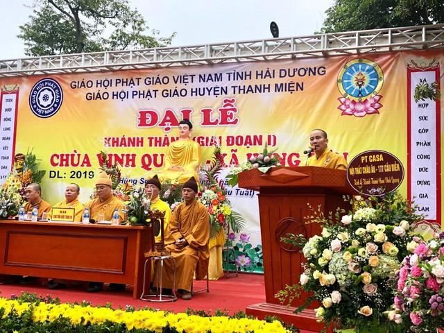 Đại đức Thích Thanh Lương giành nhiều sự tri ân đến đảng bộ, chính quyền xã Hùng Sơn và nhân dân, Phật tử