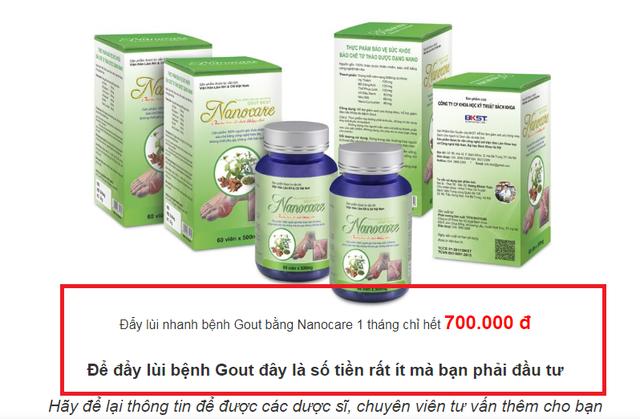 Website trigoutnano.com quảng cáo đẩy lùi bệnh gout trong vòng 1 tháng.