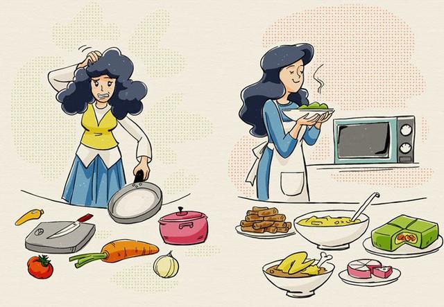 Những cô gái lần đầu ăn Tết ở nhà chồng chắc hẳn sẽ gặp nhiều bỡ ngỡ. Tranh: Tuấn Dũng.
