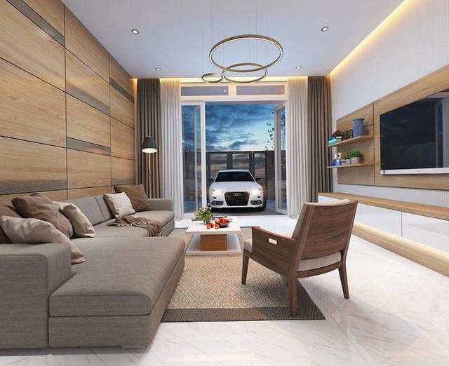 Phòng khách hiện đại với các vách trang trí bằng gỗ.