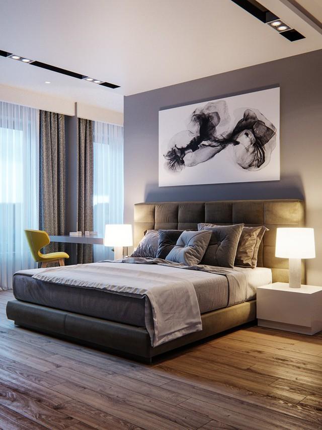 Phòng ngủ master được thiết kế với gam màu trầm.