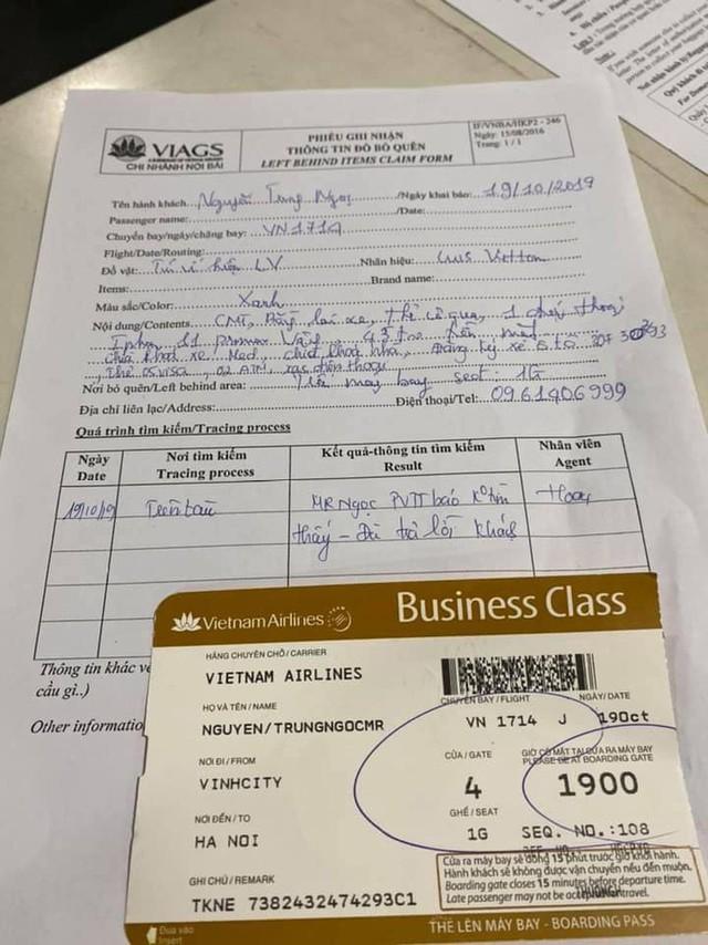 Vietnam Airlines nói gì khách VIP bỏ quên túi LV ở khoang hạng nhất... mất luôn đồ? - Ảnh 2.