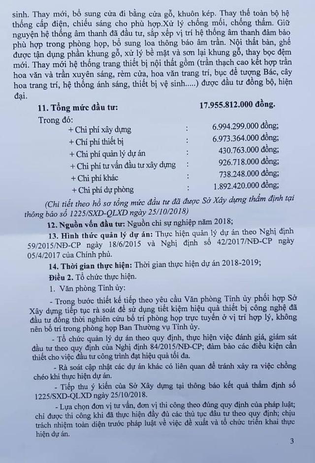 Quyết định phê duyệt dự án của tỉnh Vĩnh Phúc. (ảnh: HC)
