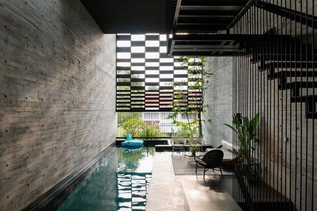 Bể bơi ở tầng 1 giúp điều hòa không khí.