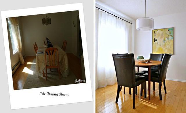Phòng ăn trước và sau khi cải tạo.