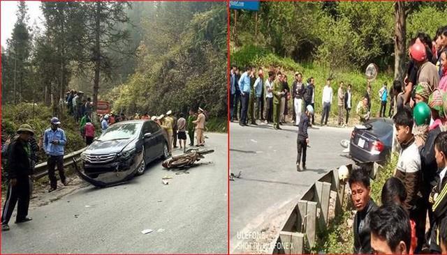 Rất đông người dân bản kéo đến hiện trường vụ tai nạn để bắt vạ tài xế ô tô.