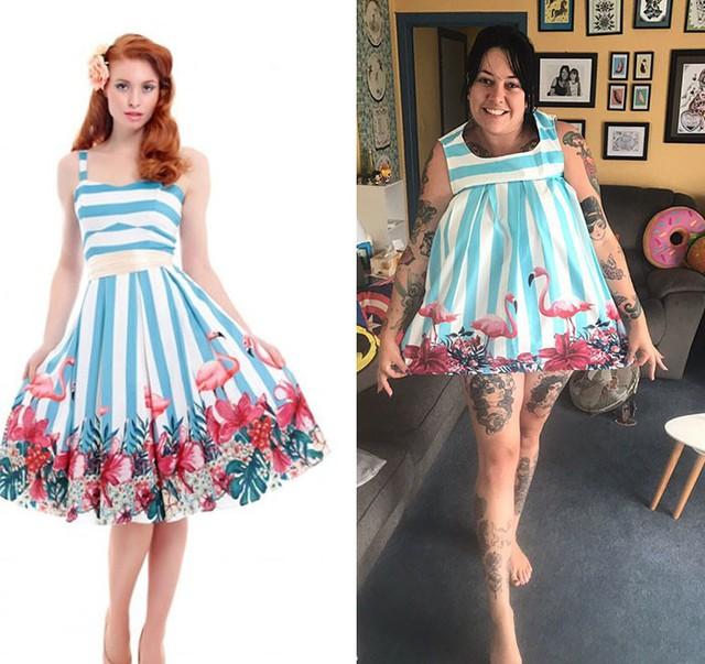 Chiếc váy mà cô gái này nhận được có vẻ dành cho trẻ em thì đúng hơn.