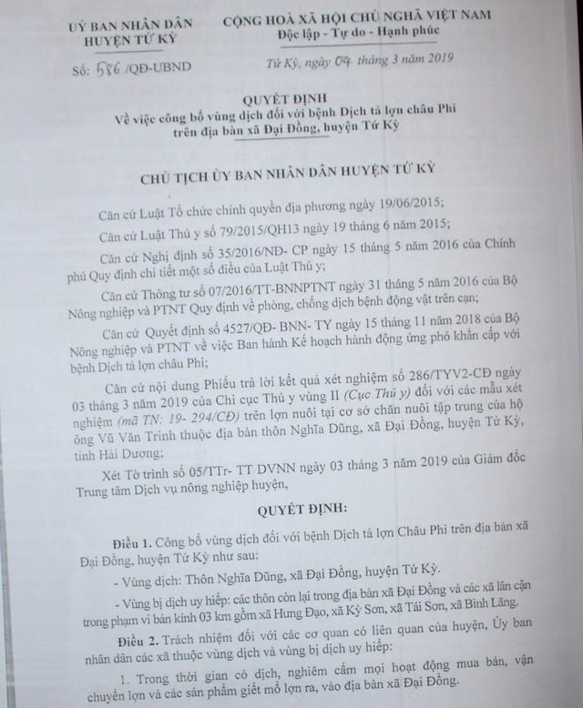 Quyết định công bố dịch tả lợn châu Phi của Chủ tịch UBND huyện Tứ Kỳ