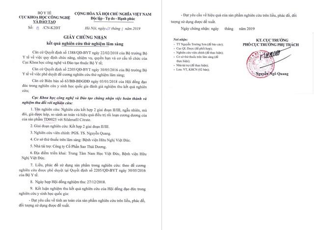 Giấy chứng nhận kết quả nghiên cứu lâm sàng tại BV Việt Đức