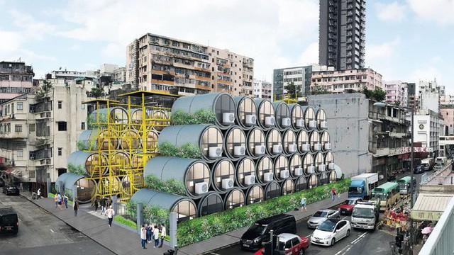 Những ngôi nhà ống bê tông này có thể được xếp chồng lên nhau và các cấu trúc tương tự như các tòa nhà chung cư.