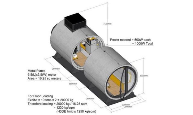 Thiết kế nhà trong ống bê tông khoa học, tiết kiệm chi phí.