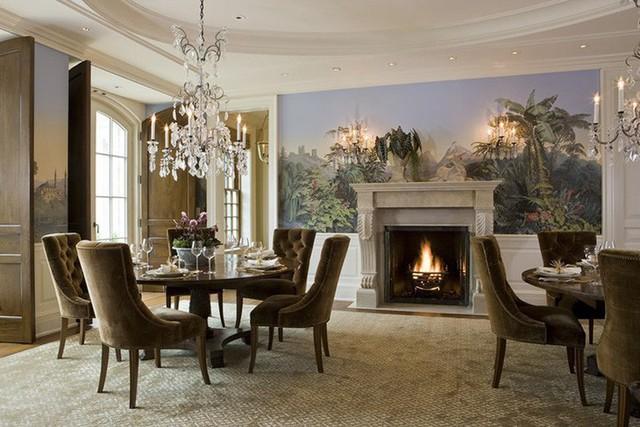 Nếu bạn muốn sở hữu một căn phòng ăn gia đình ấm cúng hãy bổ sung thiết kế lò sưởi trong phòng.