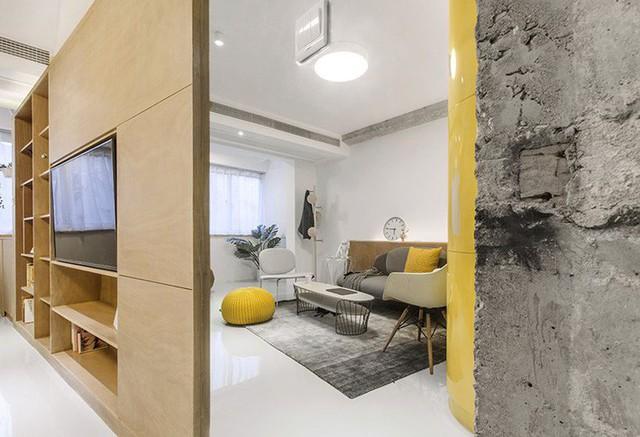 Tường, sàn và trần nhà có màu trắng trong toàn căn hộ, ngoại trừ một vài bề mặt lộ ra.