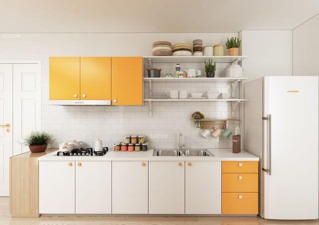 Tủ bếp nhỏ gọn nhưng vẫn đảm bảo công năng sử dụng.