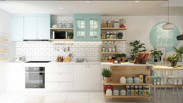 Bếp mang phong cách scandinavian càng hoàn hảo hơn khi có sự góp mặt của tủ tường màu xanh ngọc lam.