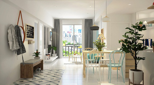 Sàn và tường màu trắng khiến nội thất màu xanh ngọc càng trở nên trong trẻo, đẹp mắt.