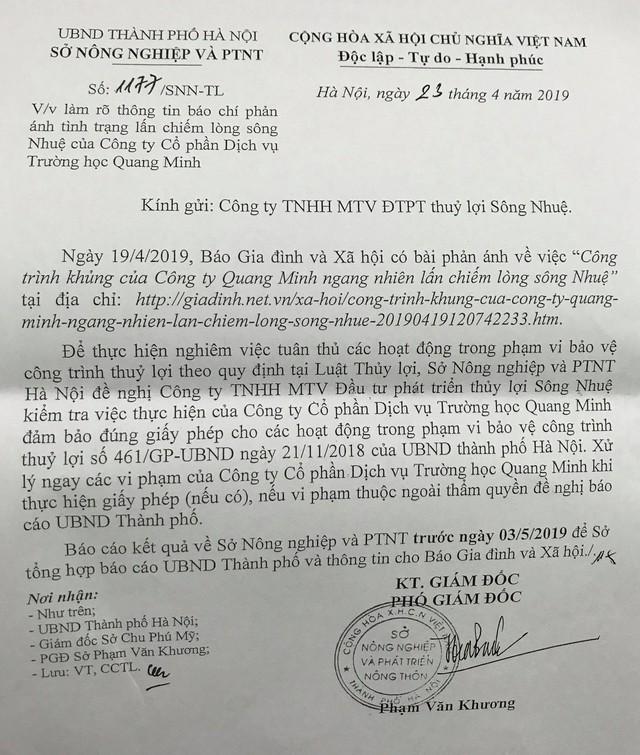 Văn bản chỉ đạo của Sở NN&PTNT TP Hà Nội về vụ việc Báo GĐ&XH phản ánh.