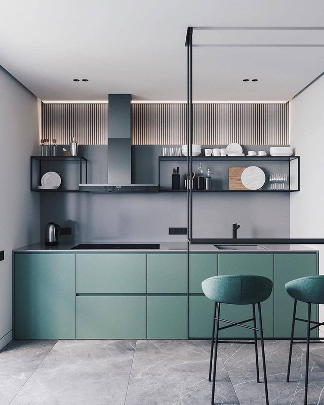 Các vật liệu đại diện cho chủ nghĩa hiện đại thường được lựa chọn cho nhà bếp của gia đình.