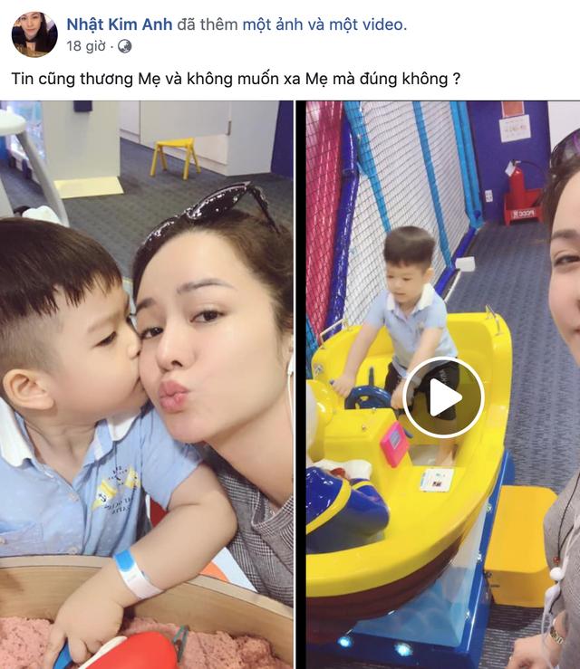 Nhật Kim Anh chia sẻ khoảnh khắc vui vẻ bên con trai.